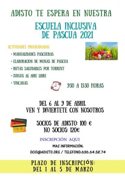 ESCUELA DE PASCUA INCLUSIVA DEL 6 AL 9 DE ABRIL SOCIOS: 100 € -  NO SOCIOS 120 €